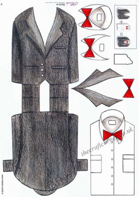 Black Tie Suit Stand Up 3d Decoupage Sheet